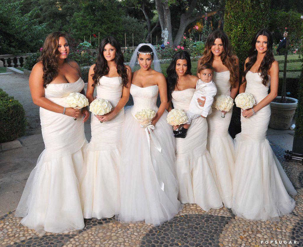 Before Kim Marries Kanye Take A Look Back At That Other Wedding She Had Khloe Kardashian Wedding Dress White Bridesmaid Mermaid Bridesmaid Dresses [ 835 x 1024 Pixel ]
