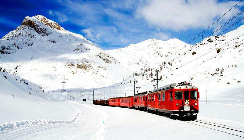 Fondo Escritorio Paisaje Bonita Nevada: Paisajes-bonitos-de-invierno-nieve-tren