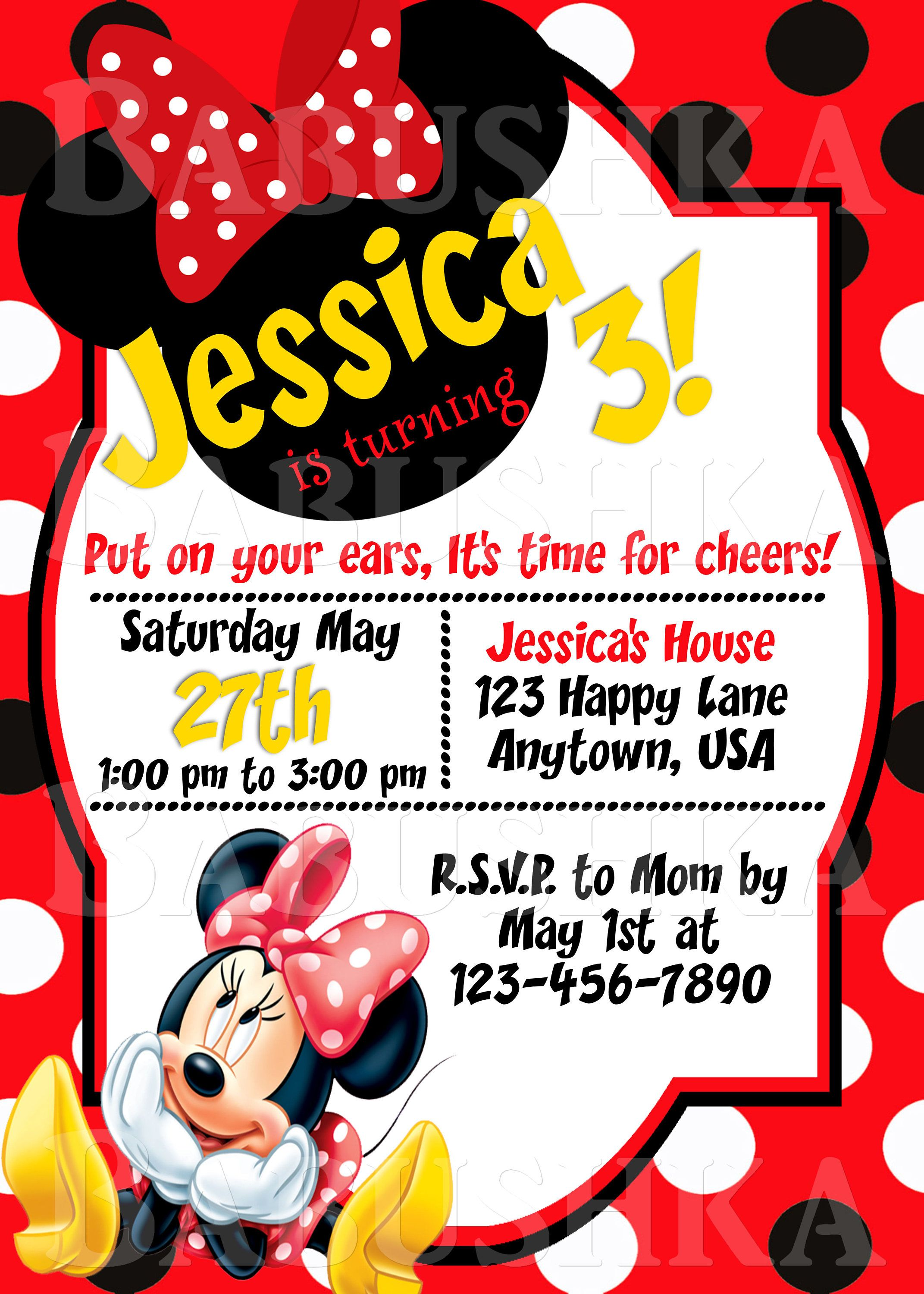 Minnie Mouse In Red Girls Birthday Party Invitation Disney Ears Invite Themed By BabushkasPrintables On Etsy