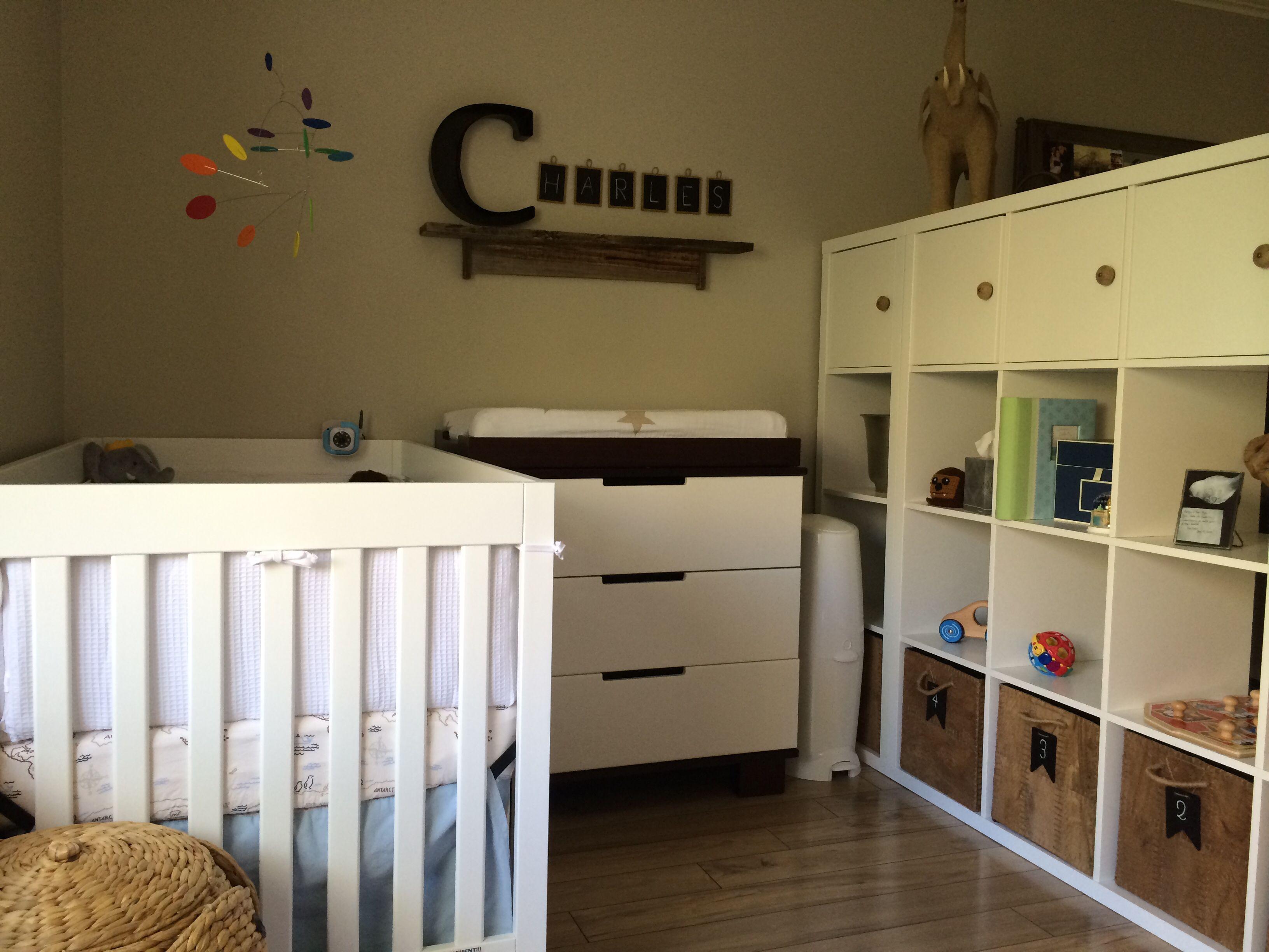 Rustic modern nursery Room divider kallax from Ikea customized