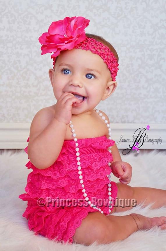 2180338646f49 Aqua Petti Lace Romper, Baby Romper - Ruffled Romper, Baby Girl ...