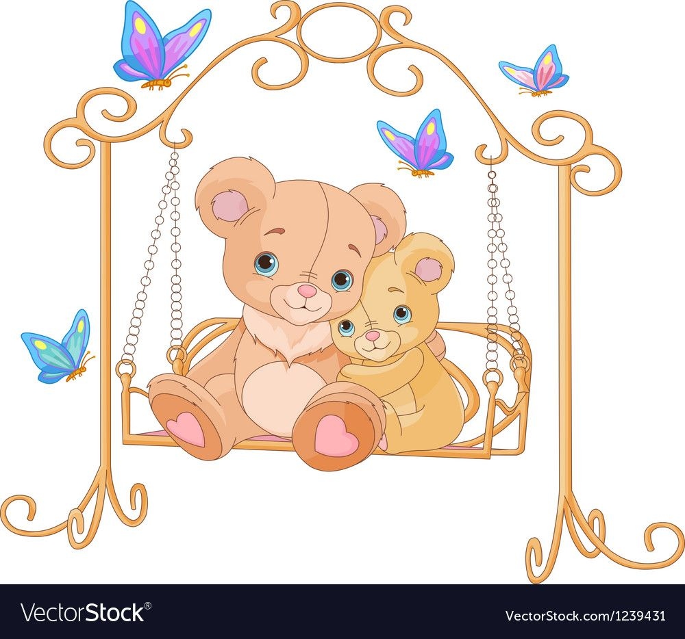 Pair of bears on a swing vector image on VectorStock