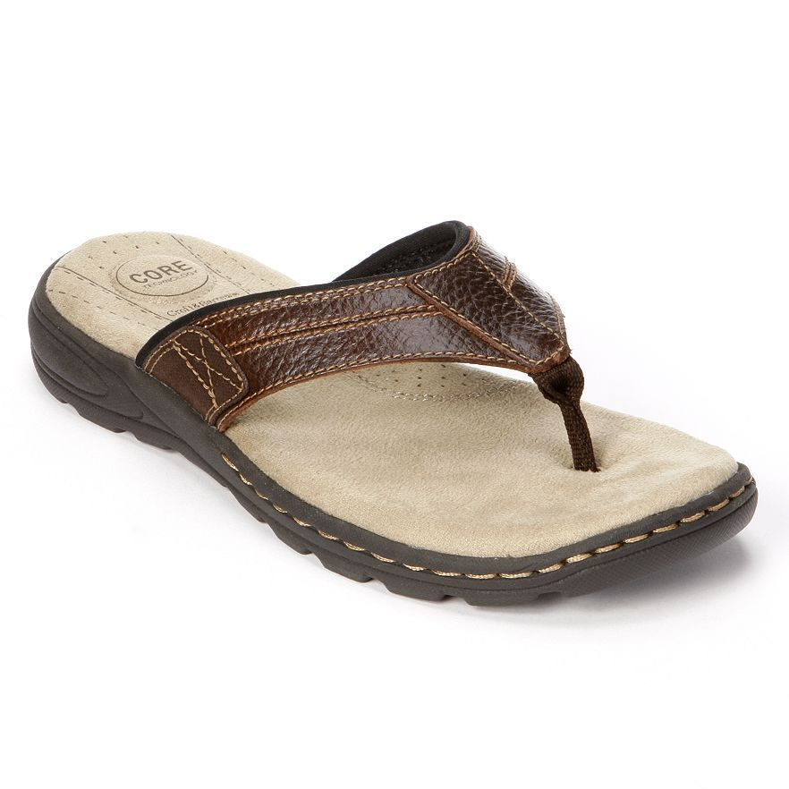 Croft and Barrow Men's Thong Sandals leather brown Flip Flops size 8 NEW