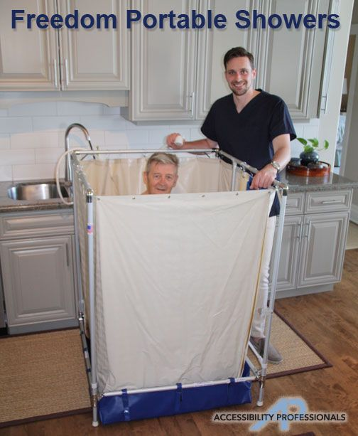 During Rehab After A Surgery You May Not Be Able To Get Up The Stairs To Your Shower Consider A Portable Showe Portable Shower Shower Stall Handicap Bathroom