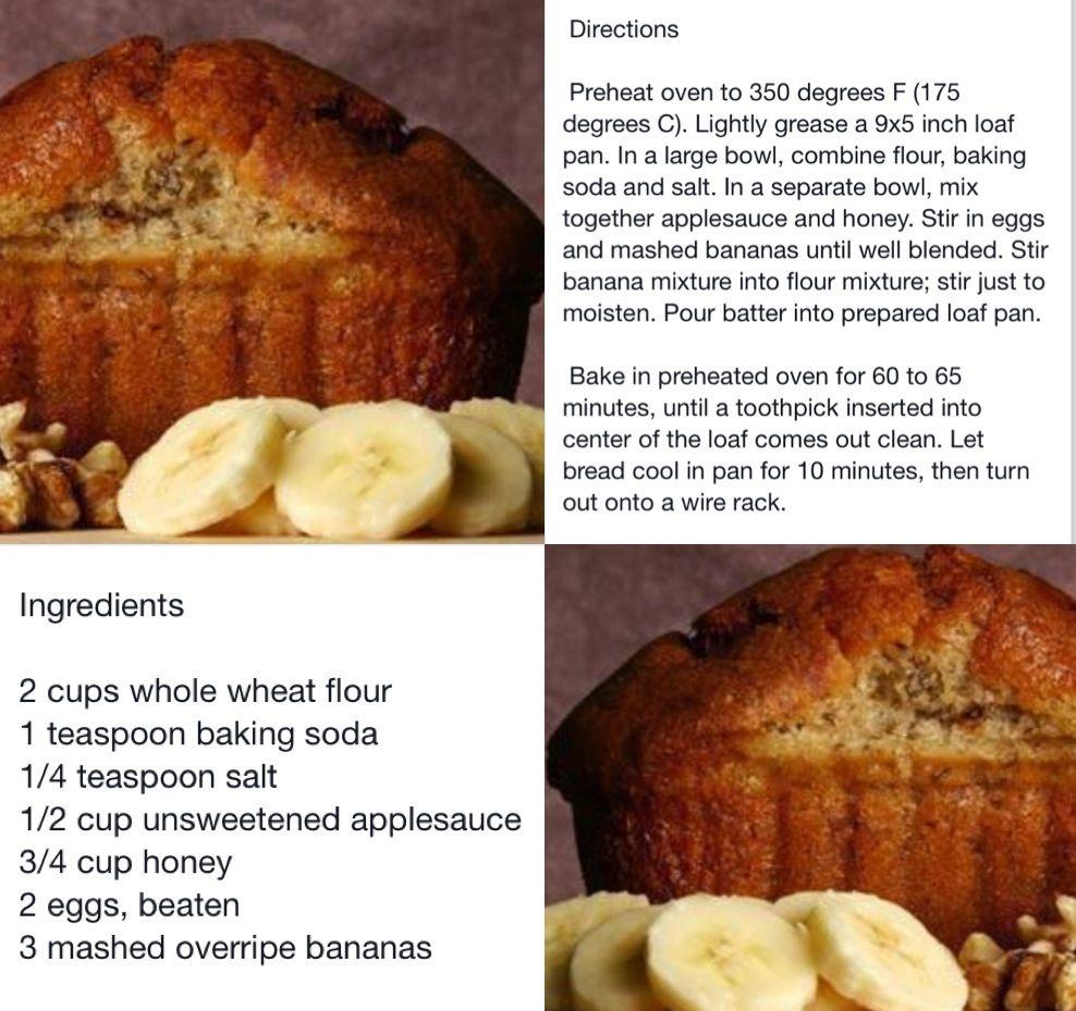 Applesauce Honey Banana Bread Banana Bread With Applesauce Yummy Healthy Snacks Banana Recipes