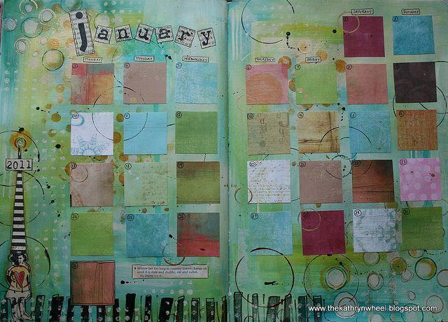 Calendar Art Journal : January ready to go journal journaling and art