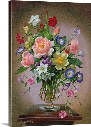 Roses Peonies And Freesias In A Glass Vase Floral Painting Flower Art Flower Painting