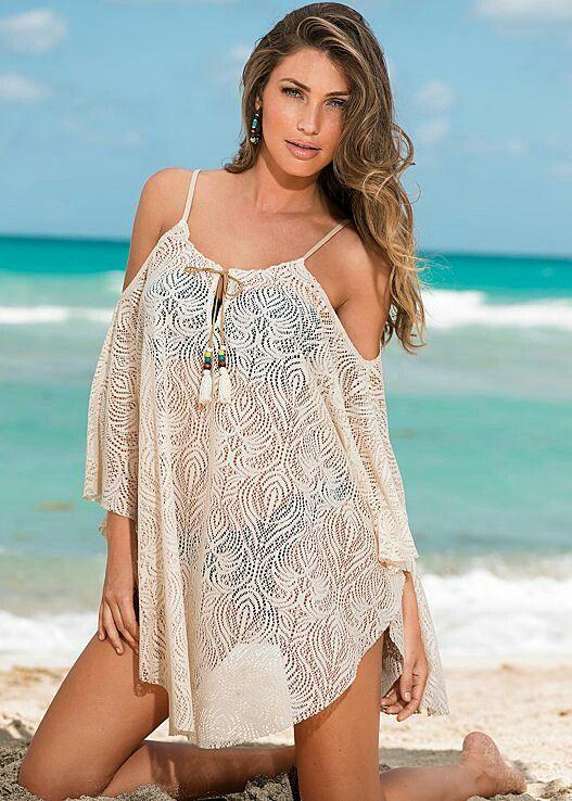 Sheer White Maxi Beach Dress Bikini Cover Up Size 14-18