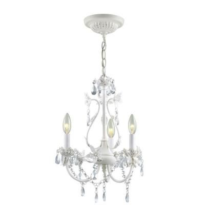Hampton Bay Kristin 3Light Antique White Hanging Mini Chandelier – Small Vintage Chandelier