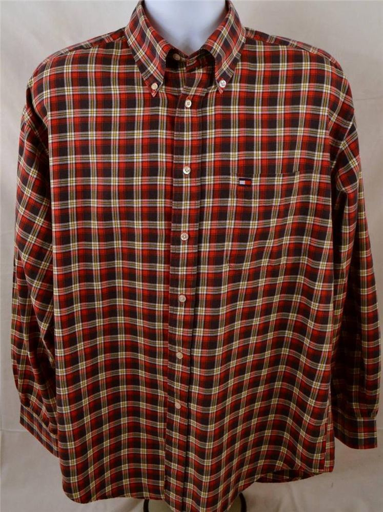 Tommy Hilfiger Mens Size Large Long Sleeve 100% Cotton Plaid Dress Shirt #TommyHilfiger