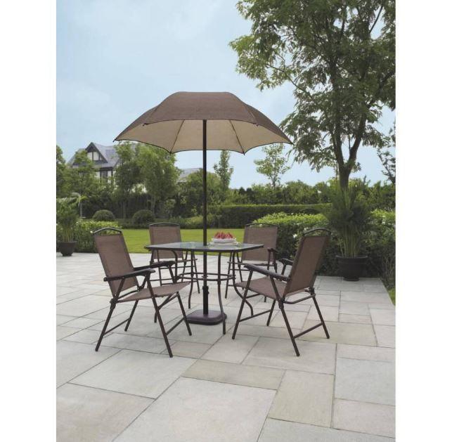 Patio Dining Set 7 Piece Outdoor Deck Garden Umbrella Chairs Table