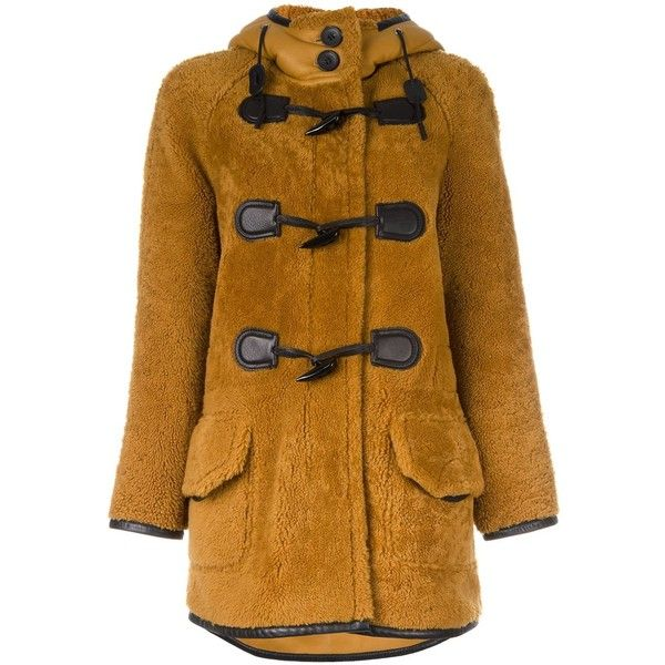 Coach hooded coat ($3,440) ❤ liked on Polyvore featuring outerwear, coats, brown, brown coat, hooded coat and coach coat