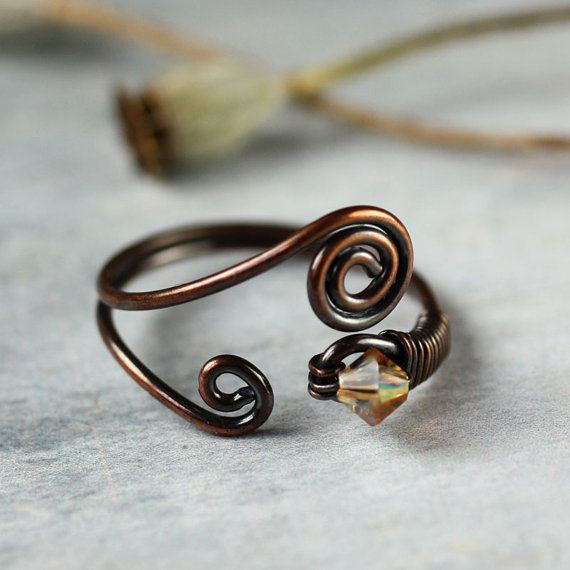Wire-Wrapped Copper Ring with Tiny Yellow Swarovski Crystal on Etsy, £17.00