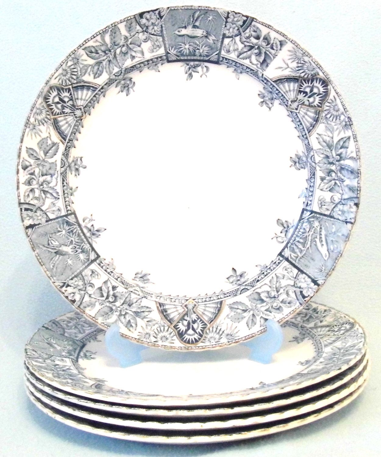 Antique Victorian Aesthetic Movement Blue and White Dinner Plates Set of Five Bird and Floral Design Decorative Pieces Five Plates Old  sc 1 st  Pinterest & Antique Victorian Aesthetic Movement Blue and White Dinner Plates ...