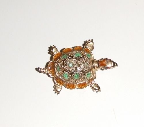 """15% Off & Free Shipping! Signed Willie Nonnenmann """"Sterling Germany NW"""" Vermeil Filigree Turtle Brooch 
