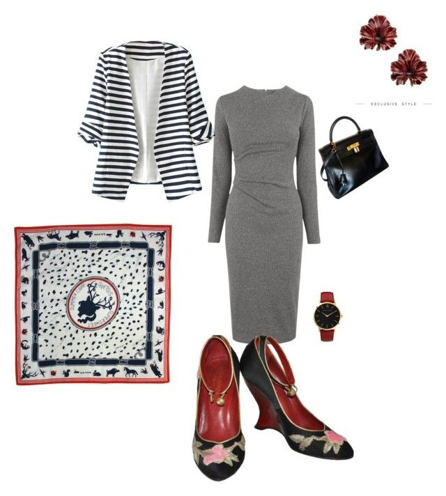 """""""Work Wear"""" by jamesj0618 on Polyvore featuring Whistles, WithChic, Yves Saint Laurent, Madina Visconti di Modrone, Hermès and Larsson & Jennings"""