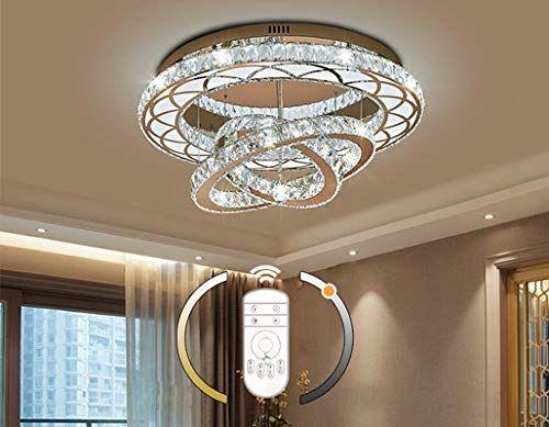 Led Cristal Plafonnier Lampe De Salon Anneaux Modernes Lampe De Plafond Design Dimmable Avec Telecommande Chambre Plafond Design Lampe Salon Eclairage Plafond