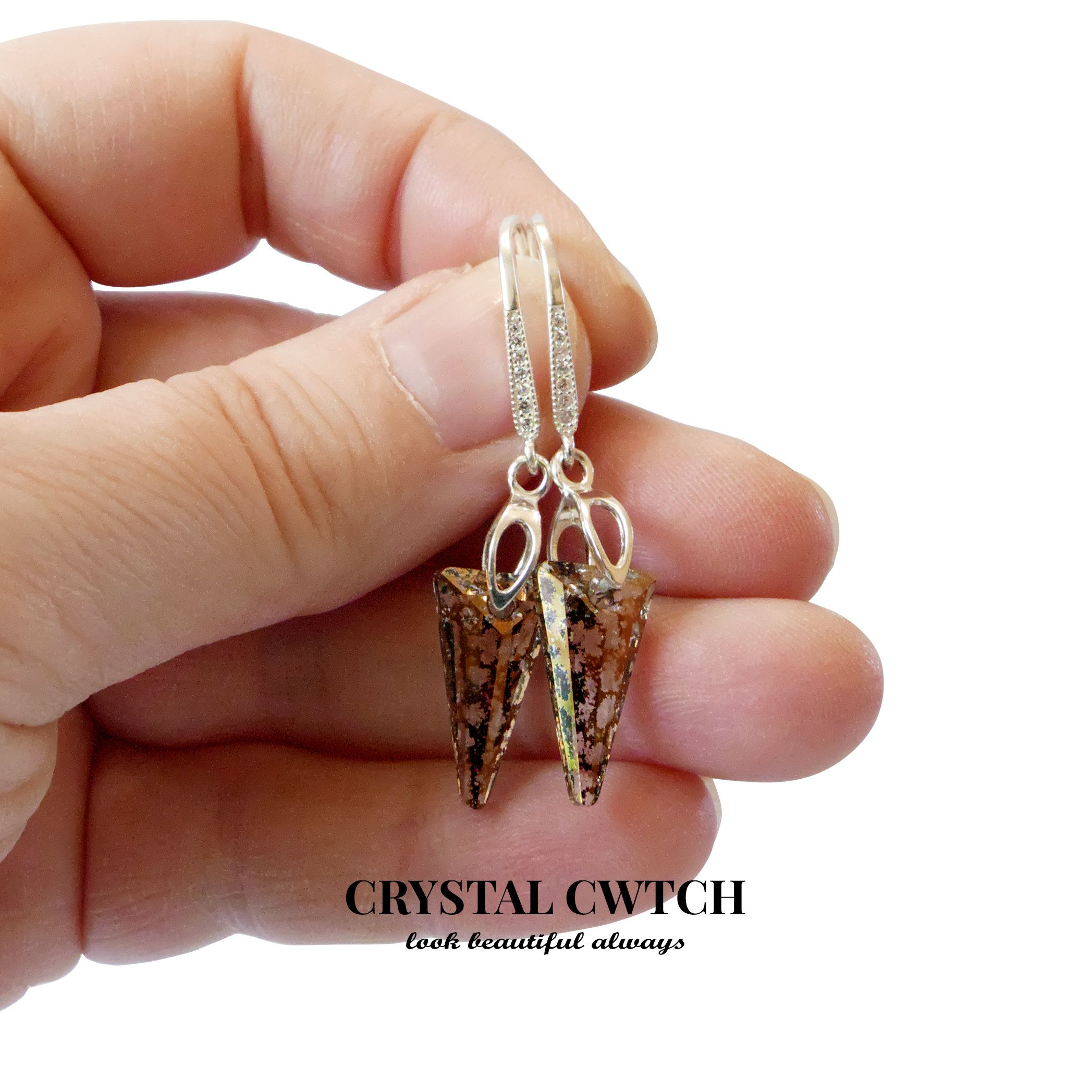 Swarovski Crystal Spike Earrings, 6480, Sterling Silver Earrings, Gold Patina Spike Earrings, French Hooks, Cubic Zirconia, Spike Crystal