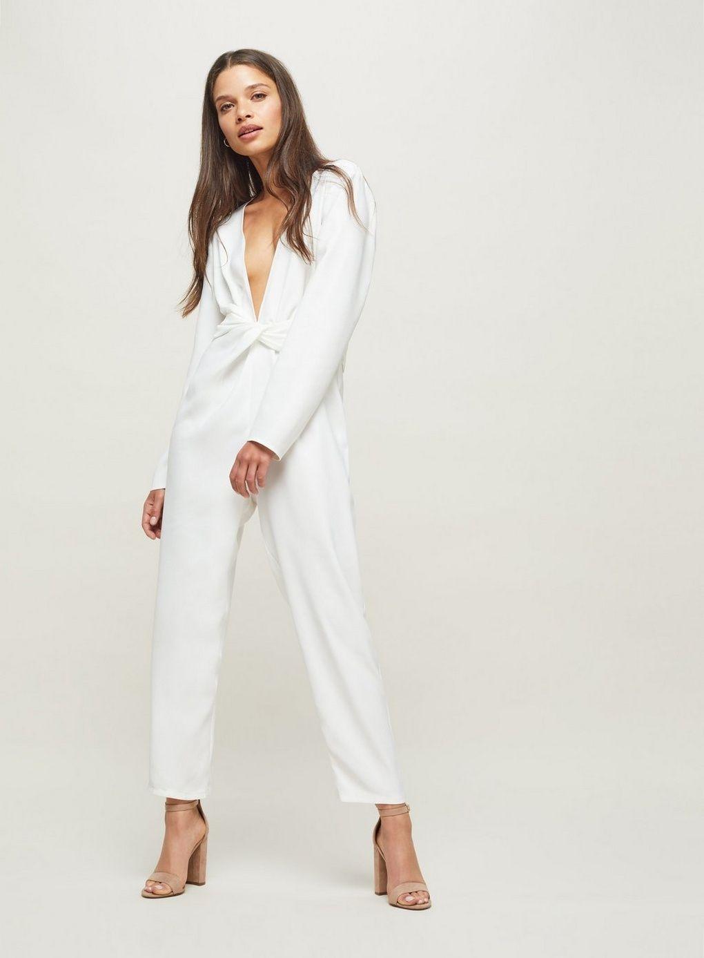 22a3ffec082 PETITE White Twist Front Jumpsuit - Petite Playsuits   Jumpsuits ...