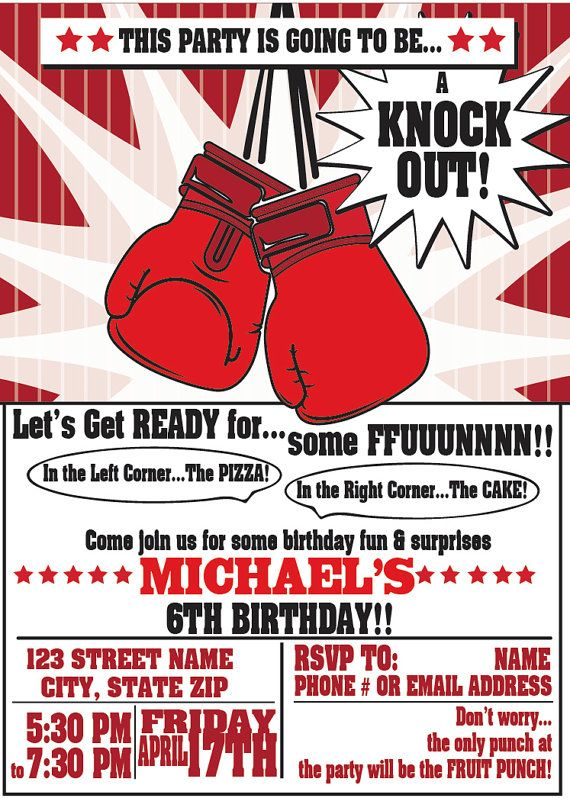 boxing party invitations for any event boxing birthday party boxing