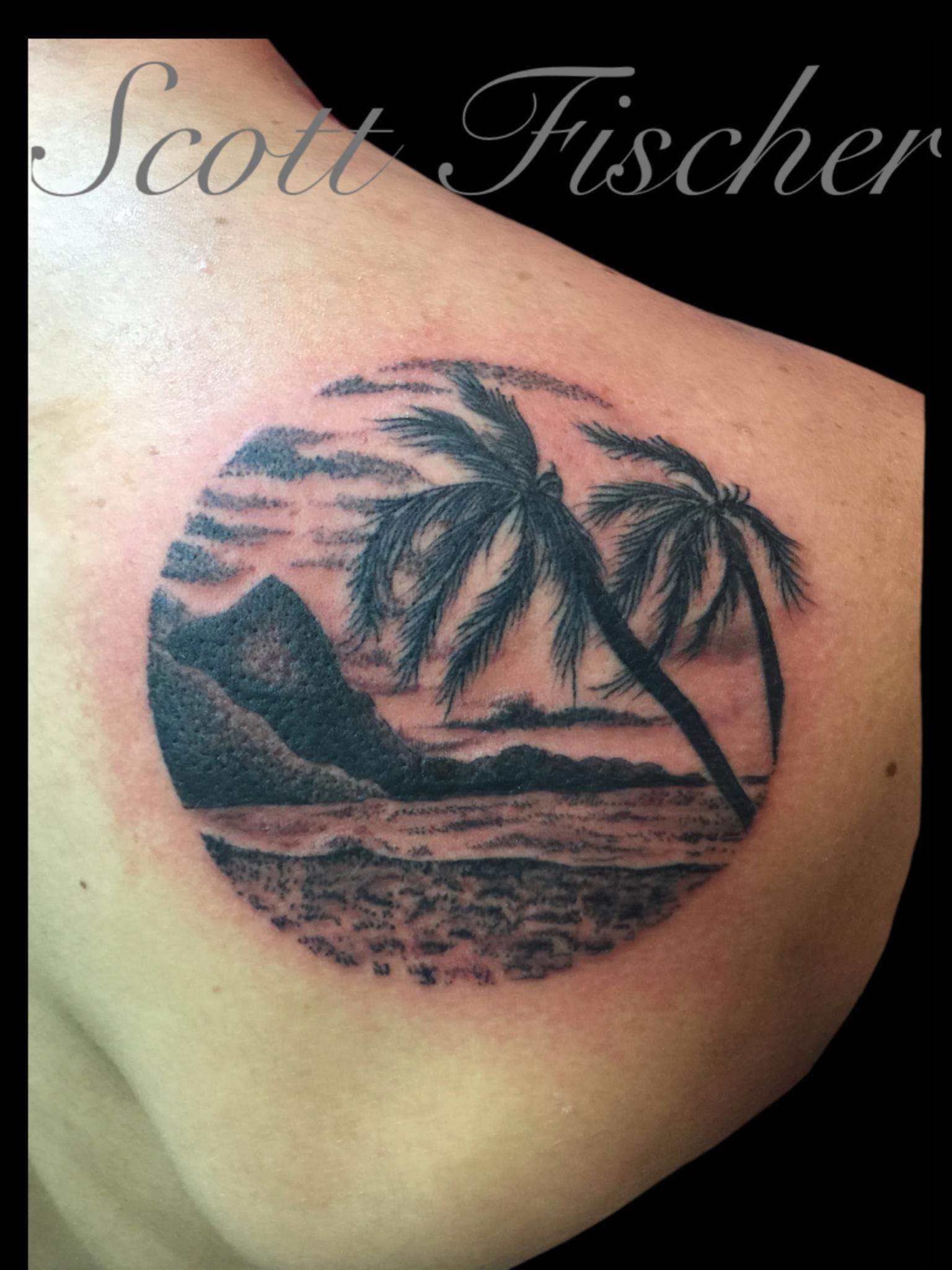 Stippling beach scene tattoo done by scott fischer for Beach scene tattoos