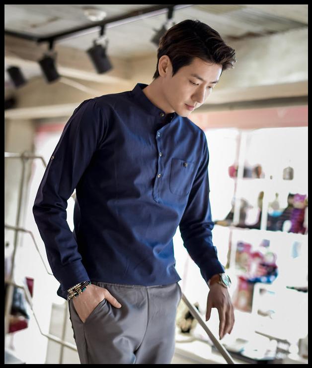 43fd447798d3 All Korean Fashion items up to 70% OFF! GERIO - Half-Placket Tab-Sleeve   Shirt  casualshirt  koreanfashion  men sfashion