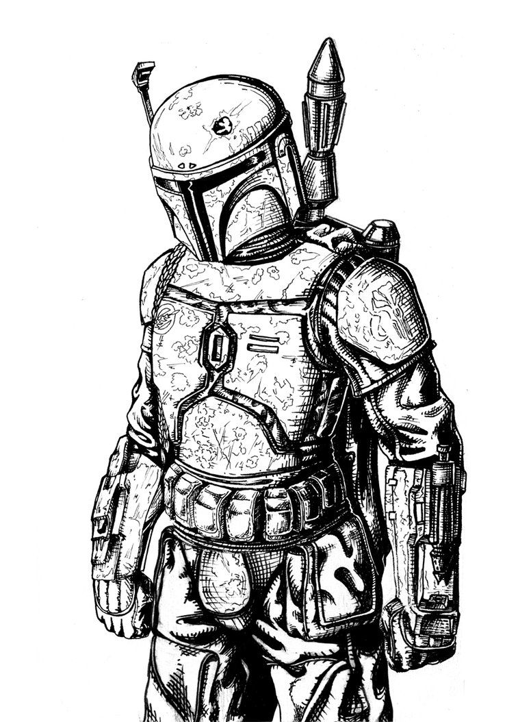 Boba Fett Line Art By Silesky On Deviantart Star Wars Drawings Star Wars Art Drawings Star Wars Awesome