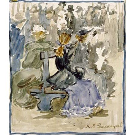 Ladies Seated on a Bench Canvas Art - Maurice Brazil Prendergast (24 x 24)