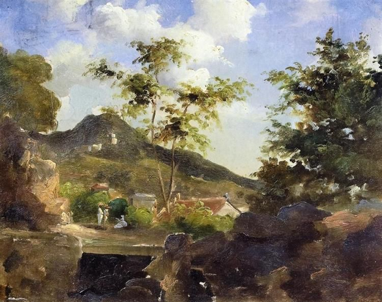 """Camille Pissarro (1830-1903) ~ """"Saint-Thomas, Village au pied d'une colline, Antilles"""", c.1854 -1855 ~ Huile sur Toile 30.7 x 24 cm ~ Collection Privée"""