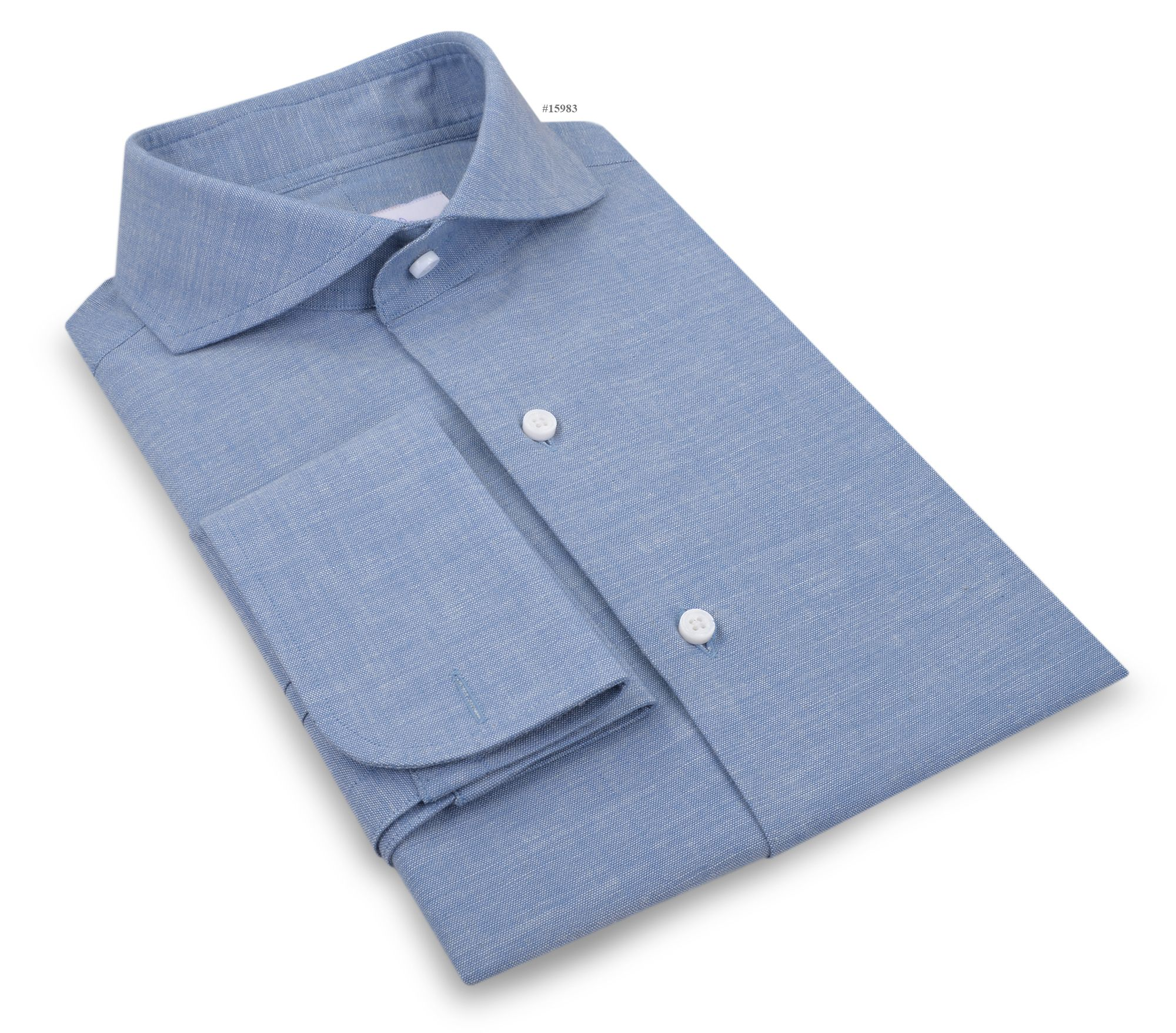 Luxire dress shirt constructed in  Cotton-Linen Blue Chambray: http://custom.luxire.com/products/blue-chambray-linen  Consists of cutaway collar and french cuffs.
