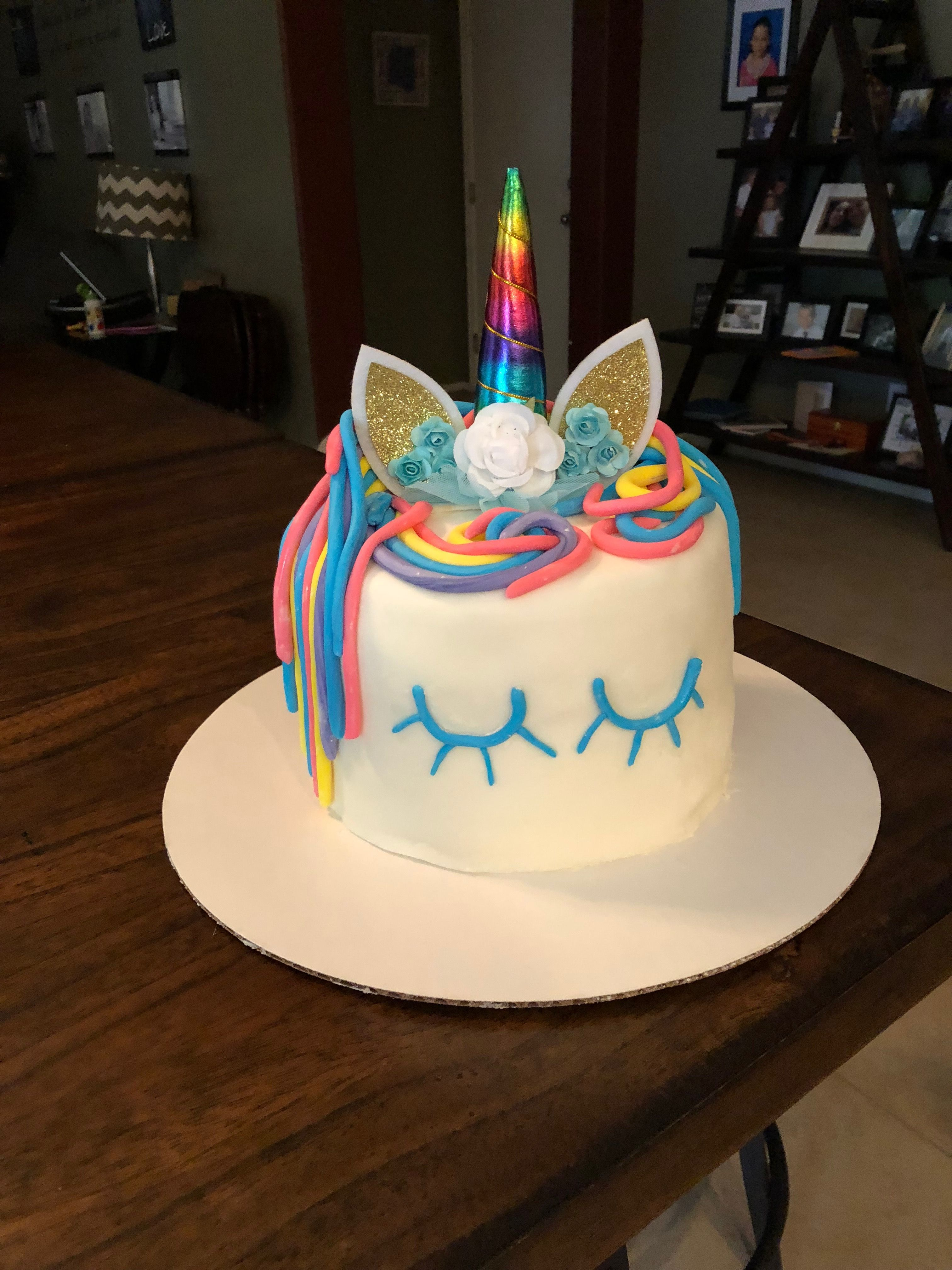 Terrific Kaseys 6Th Birthday Cake A Unicorn Cake With Images 6Th Funny Birthday Cards Online Barepcheapnameinfo