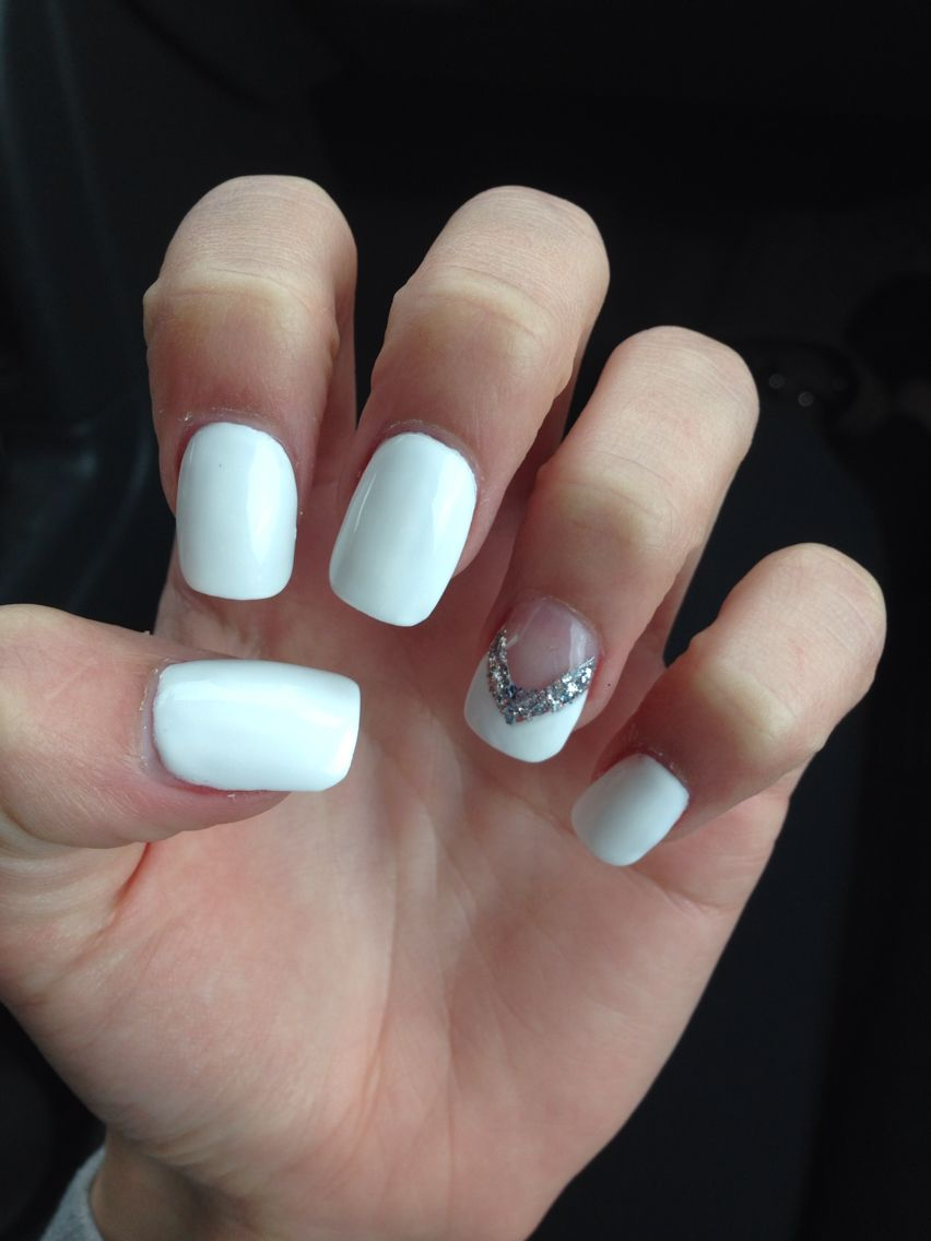 White Nails With Ring Finger Design Simple Nails White Nails Nail Polish Designs
