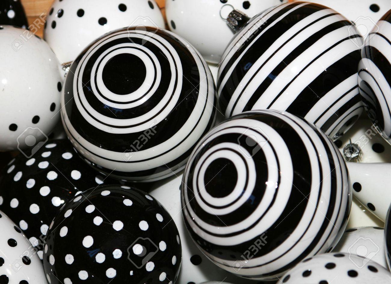 Black And White Decorative Ceramic Balls Cropped Shot Of Black And White Christmas Ball Decorationsstock