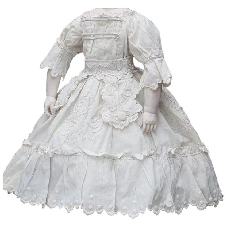 Antique French Original White Cotton Enfantine Dress with soutage embroidery for fashion doll Huret Rohmer Jumeau Bru Jumeau Barrois Gaultier about 17-18 tall #dollvictoriandressstyles