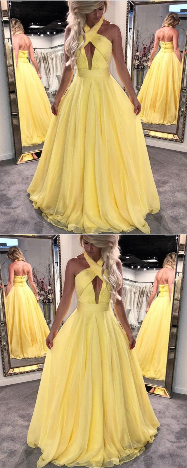 Halter chiffon open back evening dresses floor length prom gowns