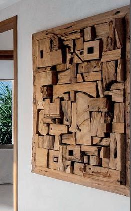 wall sculpture made of pieces of ancient wood