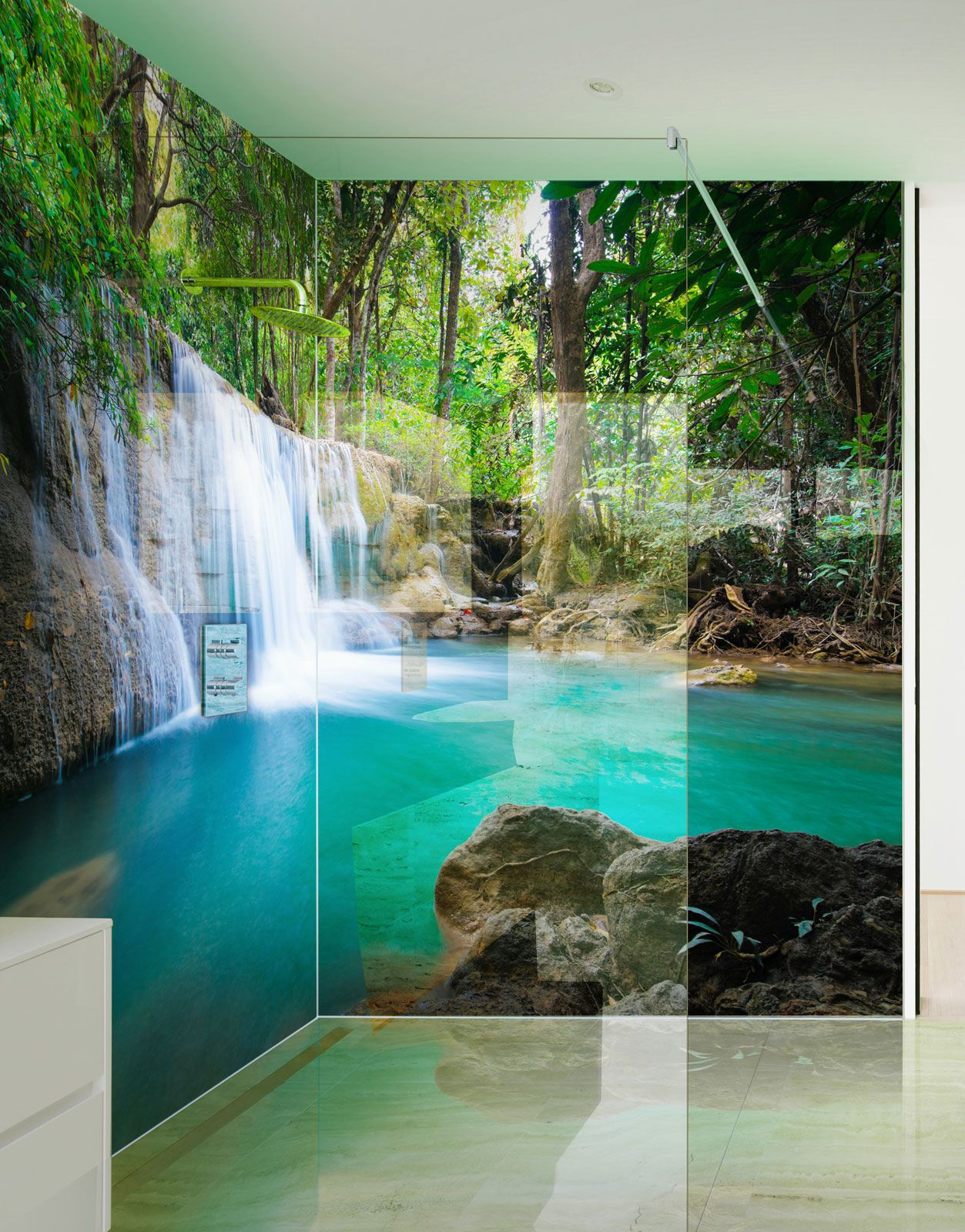 Paradise Waterfalls Printed Acrylic Shower Panels Shower Wall Panels