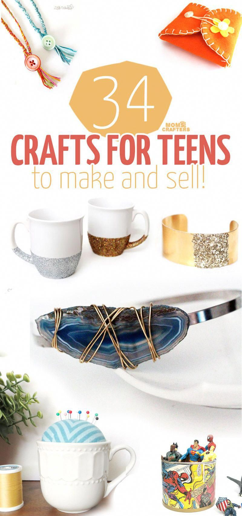 34 COOL crafts for teens to make and sell! #craftstomakeandsell