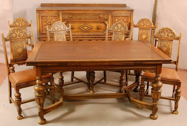 Jacobean Carved Dining 1900 549 Jacobean Style 1920 S Oak 8 Pc Dining Room Set Wi Lot 54 Antique Dining Room Table Oak Dining Room Oak Dining Room Table