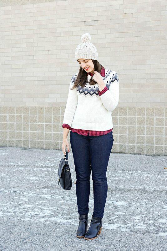 old navy fair isle sweater, Loft jeans, buffalo plaid shirt, pom ...