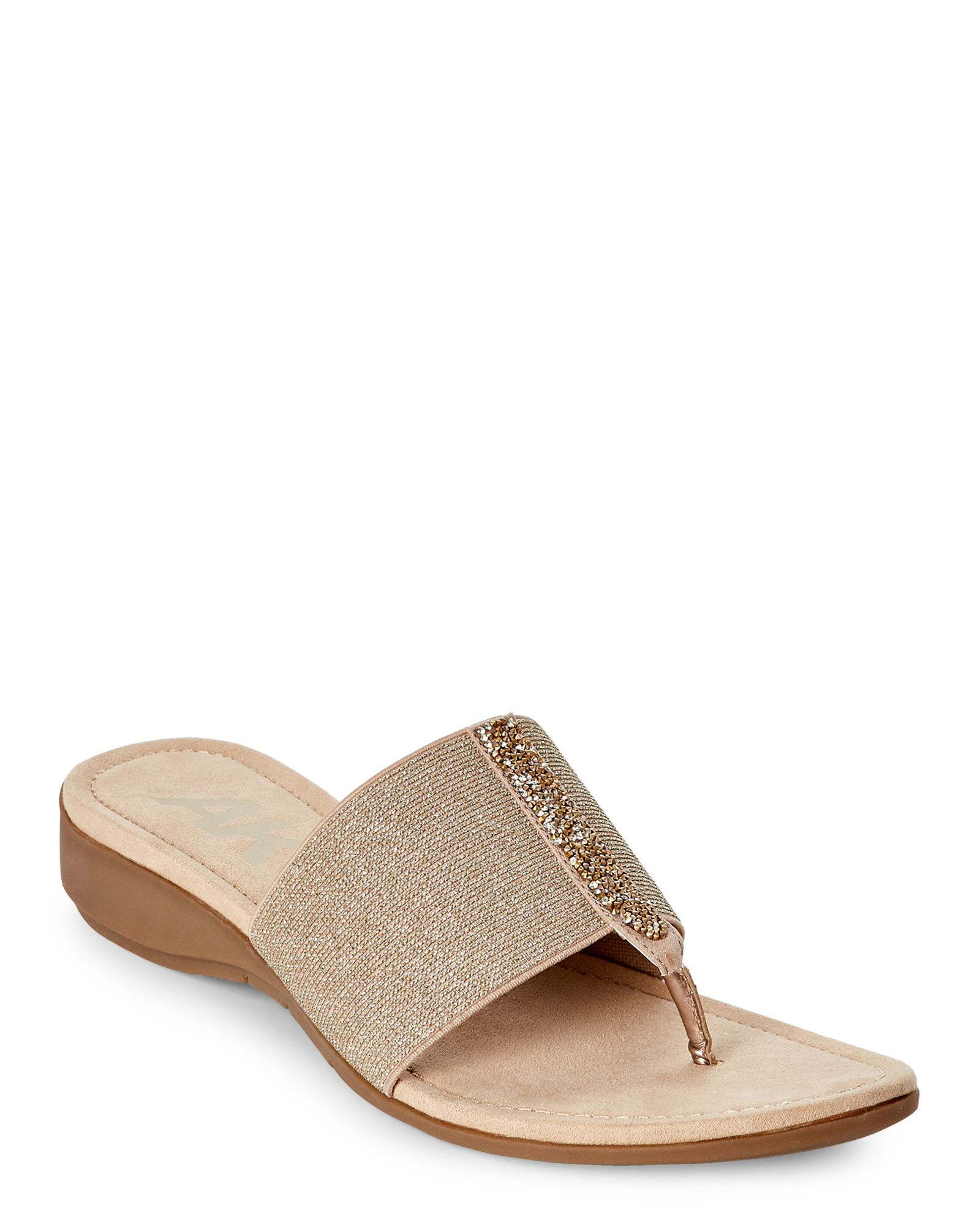 848dc3ecd9a4 Ak Anne Klein Sport Light Pink Kevian Demi Wedge Thong Sandals ...