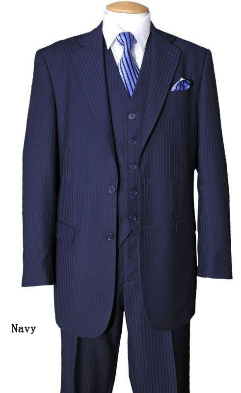 "Men/'s 3 pcs Luxurious Wool Feel Suit 33/""Jacket w//Vest,2 Buttons Striped 5702V3"