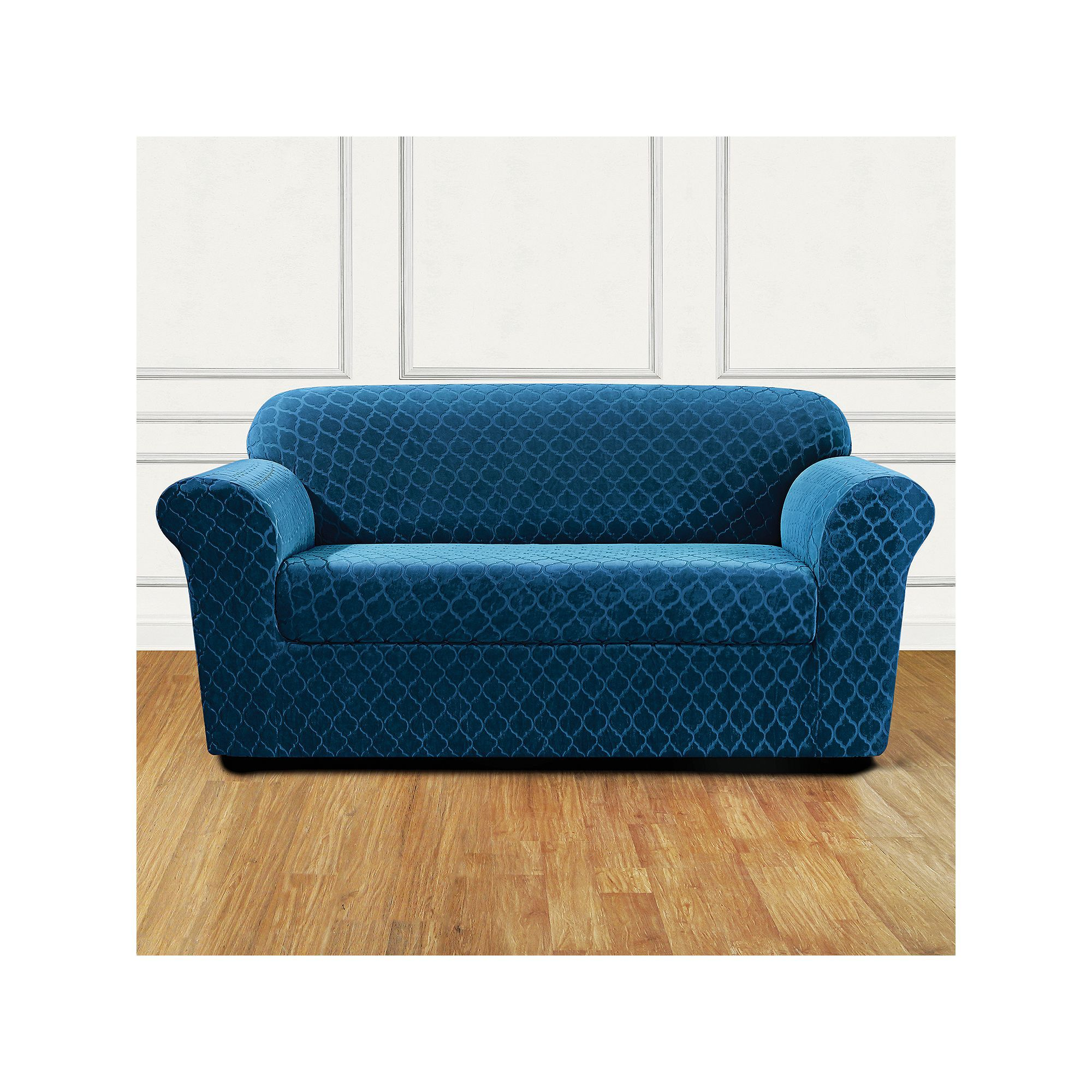 Sure Fit Marrakesh 2 Piece Stretch Loveseat Slipcover Blue