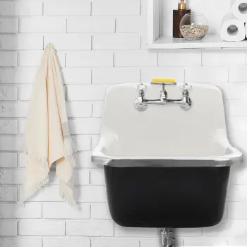 Nantucket Sinks Ci2218w 22 Inch Cast Iron Wallmount Utility Sink With Durable Cast Iron Stainless Steel Rim And 2 Pre Drilled Faucet Holes Laundry Sink Utility Sink Laundry Room Sink