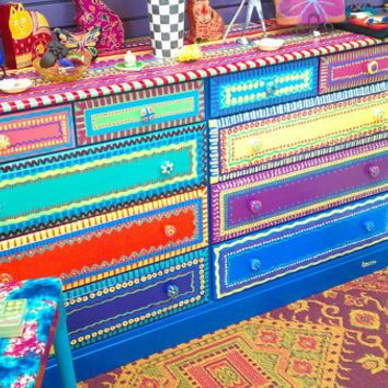 Mexican Painted Tables Hand Furniture Dresser With Ten Drawers