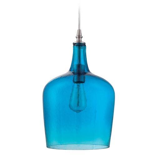 Craftmade brushed polished nickel mini pendant light kitchen blue glass mini pendant with brushed nickel by jeremiah lighting aloadofball Gallery
