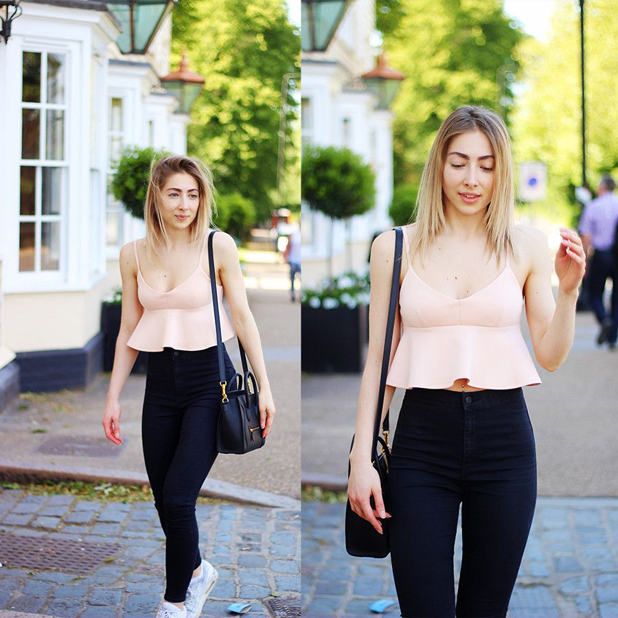 Donia Rose - Pink Peplum Crop Top, Black High Waisted Skinny Jeans ...