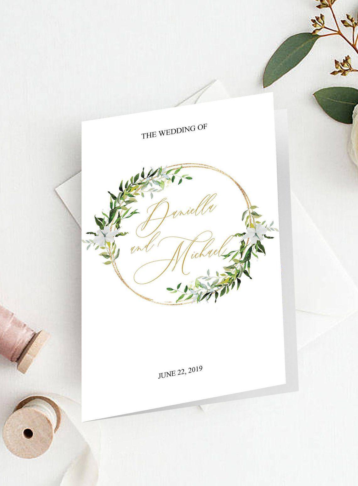 Greenery Wedding Program Template, Folded Booklet, INSTANT