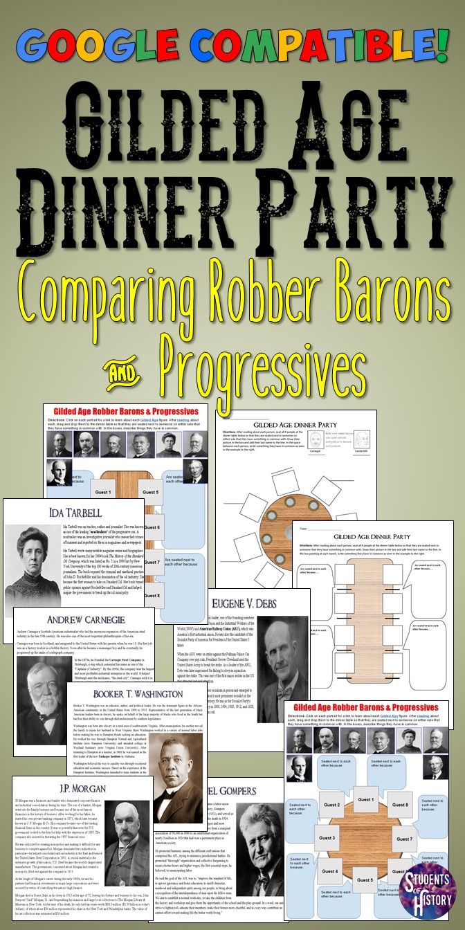 Photo of Gilded Age Robber Barons & Progressives Dinner Party Lesson