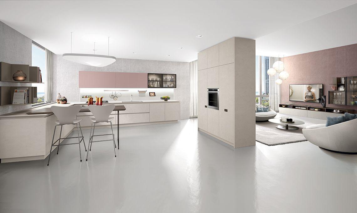Le colonne con frigo e forno diventano quinta divisoria - Cucina e salotto ...